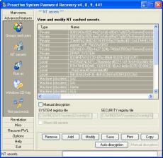 Скриншот 1 из 1 программы Proactive System Password Recovery