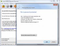 Скриншот 1 из 1 программы Accent Excel Password Recovery