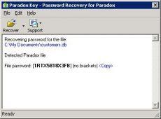 Скриншот 1 из 1 программы Paradox Password Recovery Key