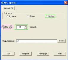 Скриншот 1 из 4 программы MP3 Splitter