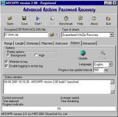 Скриншот 1 из 1 программы Advanced Archive Password Recovery
