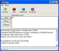 Скриншот 1 из 1 программы McAfee AVERT Stinger