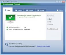 Скриншот 1 из 1 программы Microsoft Security Essentials & ForeFront Client Security Definition Updates