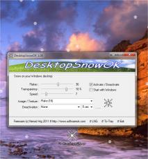 Скриншот 1 из 2 программы DesktopSnowOK