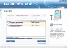 Скриншот 1 из 4 программы Emsisoft Emergency Kit