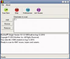 Скриншот 1 из 1 программы McAfee Stinger