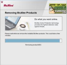 Скриншот 1 из 1 программы McAfee Consumer Product Removal Tool