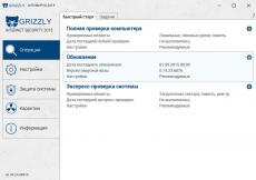 Скриншот 1 из 1 программы Антивирус Grizzly