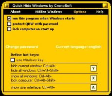 Скриншот 1 из 1 программы Quick Hide Windows