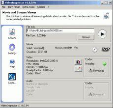Скриншот 1 из 1 программы VideoInspector
